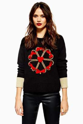 Topshop Christmas Candy Cane Wreath Jumper