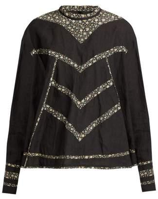 Isabel Marant Moony Oversized Linen Top - Womens - Black