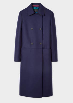 Paul Smith Women's Navy Double-Breasted Wool-Cashmere Overcoat