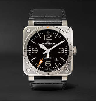 Bell & Ross Br 03-93 Gmt 42mm Steel And Leather Watch