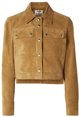 Acne Studios Cropped Suede Jacket - Tan