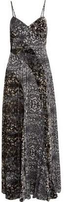 Haute Hippie Printed Velvet And Silk-Chiffon Maxi Dress