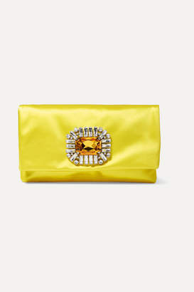 Jimmy Choo Tatiania Crystal-embellished Satin Clutch - Yellow