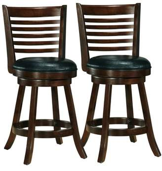CorLiving Woodgrove Cappuccino Stained Counter Height Barstool with Bonded Leather Seat, Set of 2