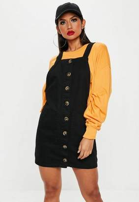 Missguided Black Horn Button Through Denim Pinafore Dress
