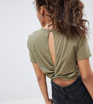Asos Tall DESIGN Tall Crop T-Shirt With Cutaway & Twist Back