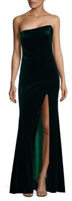 Betsy & Adam Front-Slit Velvet Dress