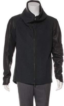 Devoa Wool & Leather Zip-Up Jacket