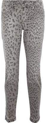 Current/Elliott Cropped Leopard-Print High-Rise Skinny Jeans