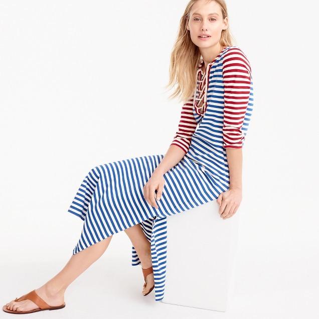 Striped lace-up dress