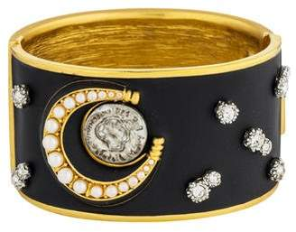 Mayle Coin, Crystal & Faux Pearl Luna Hinge Bangle