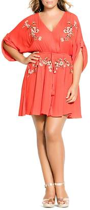 City Chic Plus Floral-Embroidered Dress