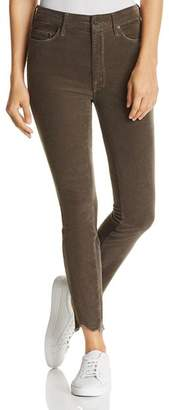 Mother Looker High-Rise Chewed-Hem Corduroy Skinny Jeans in Taupe