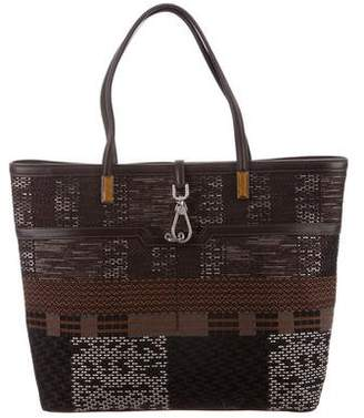Oscar de la Renta Woven Leather Trim Tote