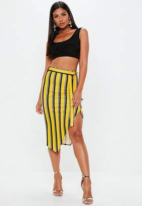Missguided Yellow Striped Tie Waist Midi Skirt