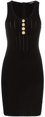 Balmain Sleeveless button detail knit mini dress