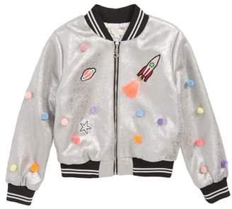 Truly Me Embellished Metallic Bomber Jacket
