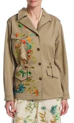 Alberta Ferretti Cropped Embroidered Safari Jacket