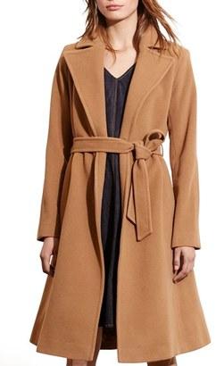 Petite Women's Lauren Ralph Lauren Wool Blend Wrap Coat $360 thestylecure.com