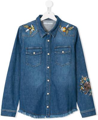 Zadig & Voltaire Kids TEEN embroidered denim shirt
