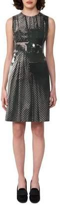Akris Vivian Camera-Print A-Line Dress, Black
