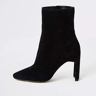 River Island Black suede high blocked heel ankle boot