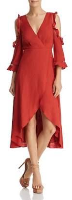 Aqua Cold-Shoulder Faux-Wrap High/Low Dress - 100% Exclusive