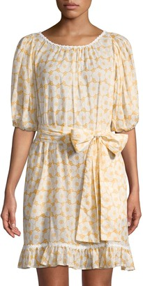 Lisa Marie Fernandez Prairie Mini Floral Sheer Dress