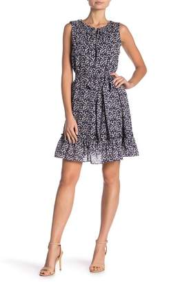 Vince Camuto Whirlwind Bud Print Cotton Blend Minidress