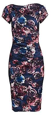 Theia Women's Short-Sleeve Ruched Floral Sheath