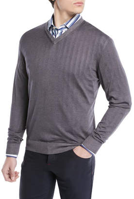 Kiton Cashmere-Silk V-Neck Sweater