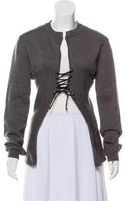 Hache Wool Lace-Up Cardigan