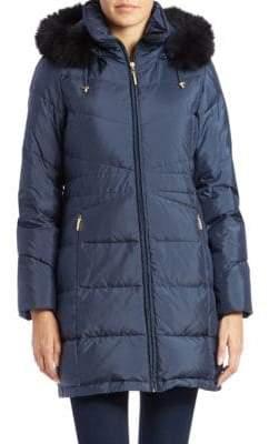 Ellen Tracy Fox Fur-Trimmed Hooded Down Coat