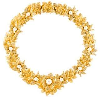 Christian Dior Faux Pearl & Crystal Floral Collar Necklace