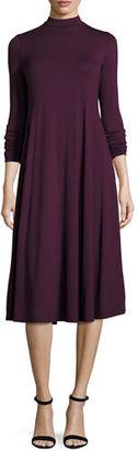 Eileen Fisher Lightweight Mock-Neck Jersey Midi Dress $218 thestylecure.com