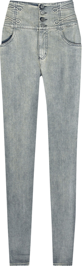 McQ High-waisted bleached skinny jeans
