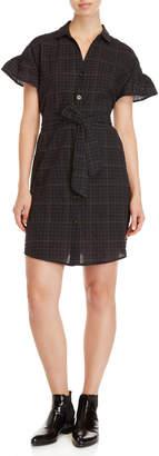 Lush Plaid Belted Shirt Dress