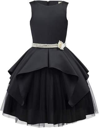 David Charles Satin & Tulle Sleeveless Dress w/ Pearly Belt, Size 10-16