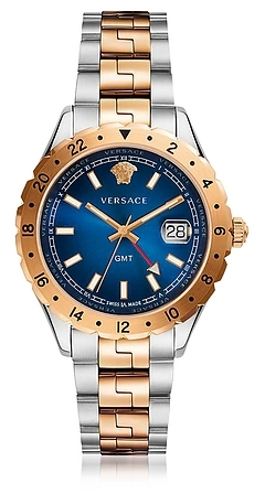 versace hellenyium gmt stainless steel men 39 s watch w greek inserts and blue dial. Black Bedroom Furniture Sets. Home Design Ideas