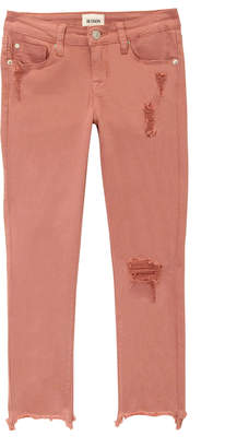 Hudson Wren Distressed Chewed-Hem Skinny Jeans, Size 4-6X