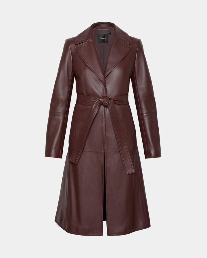 Theory Leather Cinched Trench