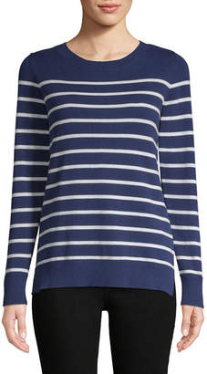 Liz Claiborne Long Sleeve Crew Neck Stripe Pullover Sweater