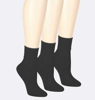 07a52c5812b Avenue Plus Size Black Rolled Cuff Crew Socks 3-Pack