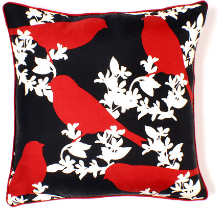 Thomas Paul Goldfinch in Scarlet Luxe Silk Pillow