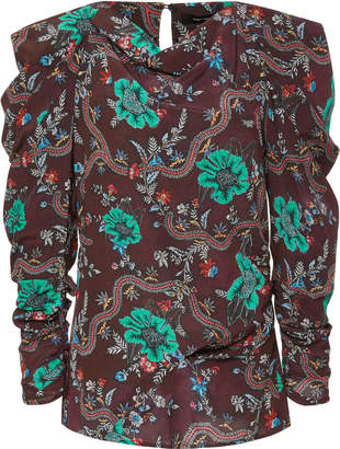 Isabel Marant Draped Printed Stretch-Silk Blouse