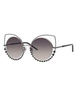 Marc Jacobs Metal-Rim Gradient Cat-Eye Sunglasses w/ Rhinestones, Pewter $295 thestylecure.com