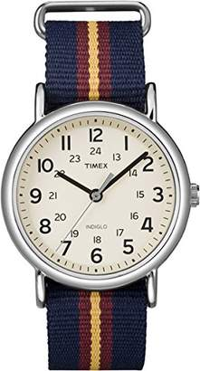 Timex Weekender Unisex T2P234 Quartz Watch with Beige Dial Analogue Display and Multicolour Nylon Strap