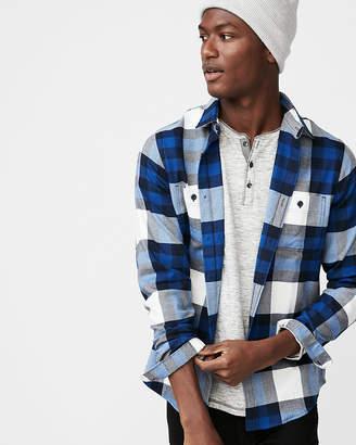 Express Slim Plaid Flannel Stretch Shirt