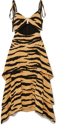 Proenza Schouler Tiered Tiger-print Crepe Maxi Dress - Beige
