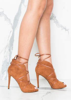 Missy Empire Missyempire Inga Camel Suede Cut Out Ankle Tie Heels